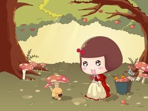 A little girl with mushrooms